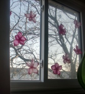 Tissue Paper Flowers - Finished Window