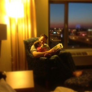 Papa reading with Poppet