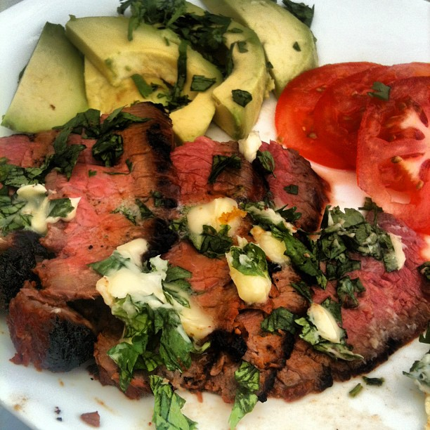 Chipotle Flank Steak with Cilantro Butter
