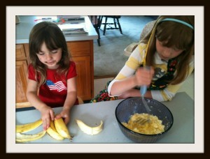 Mashing bananas