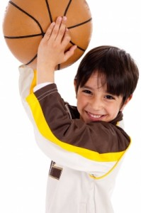 Boy with Basketball Exercising